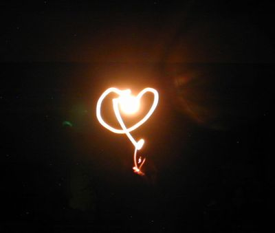 A light bulb love heart