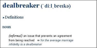 Excerpt from Collins Dictionery's online definition of the word 'dealbreaker'