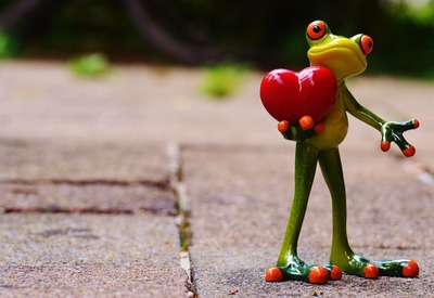Frog holding a heart