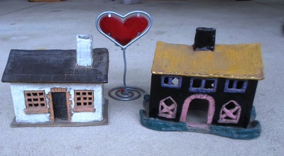 Two Pottery Houses And Heart